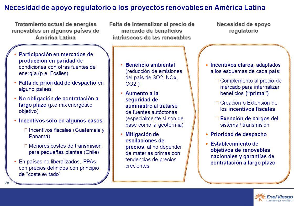 19 Experiencia de Enel en América Latina en proyectos MDL El know how adquirido y la información recopilada de los proyectos anteriores ha facilitado y agilizado la elaboración del PDD y validacion Falta de flexibilidad en la aplicación de la metodología.