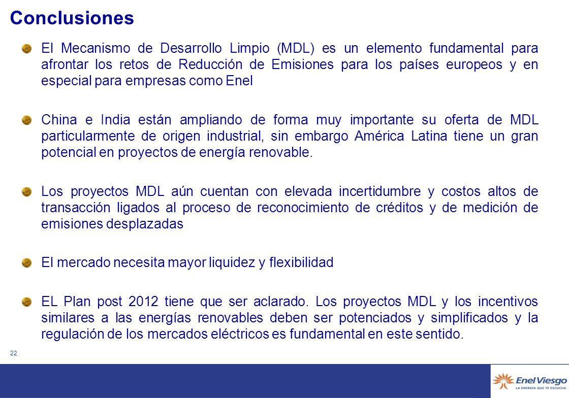 21 Problemas detectados en el desarrollo de los proyectos MDL Falta de certeza de la obtención de créditos (CERs) más allá de 2012.