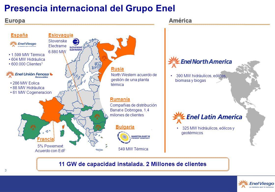 2 * Actualizado a 10/01/2006 Principales magnitudes del grupo Enel 50 GW de capacidad instalada 150 TWh de energía producida 16,7 GW en energía renova
