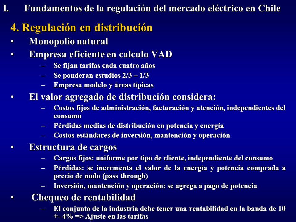 4. Regulación en distribución Monopolio naturalMonopolio natural Empresa eficiente en calculo VADEmpresa eficiente en calculo VAD –Se fijan tarifas ca