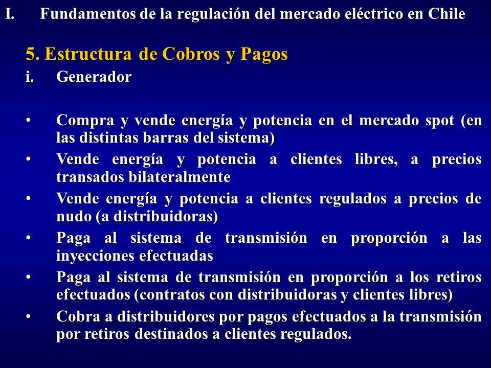 5. Estructura de Cobros y Pagos i.Generador Compra y vende energía y potencia en el mercado spot (en las distintas barras del sistema)Compra y vende e