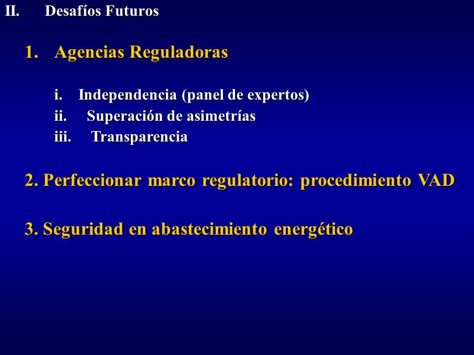 II. Desafíos Futuros 1.Agencias Reguladoras i. Independencia (panel de expertos) ii. Superación de asimetrías iii. Transparencia 2. Perfeccionar marco