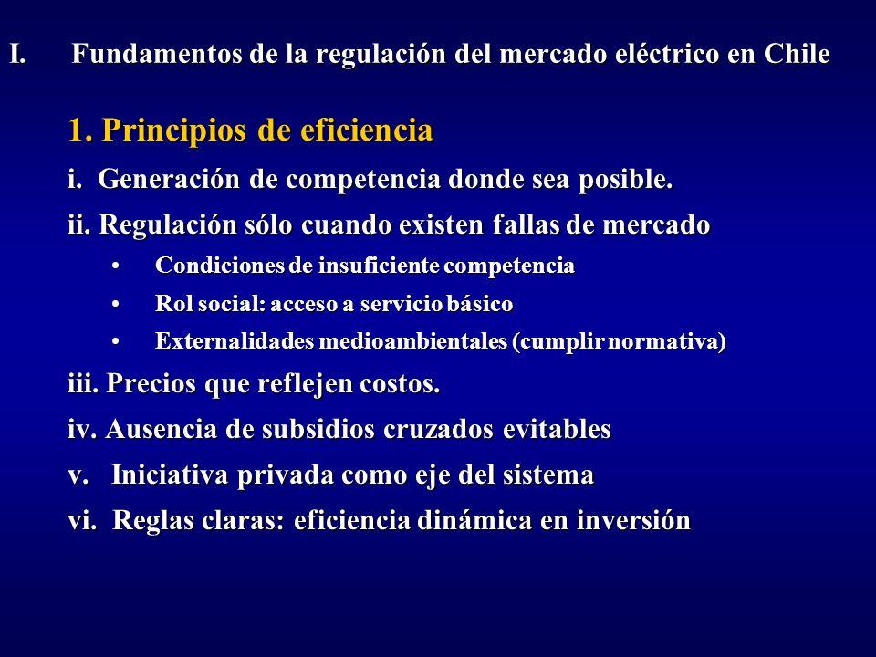 I. Fundamentos de la regulación del mercado eléctrico en Chile 1. Principios de eficiencia i. Generación de competencia donde sea posible. ii. Regulac