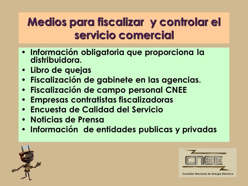 Medios para fiscalizar y controlar el servicio comercial Información obligatoria que proporciona la distribuidora. Libro de quejas Fiscalización de ga
