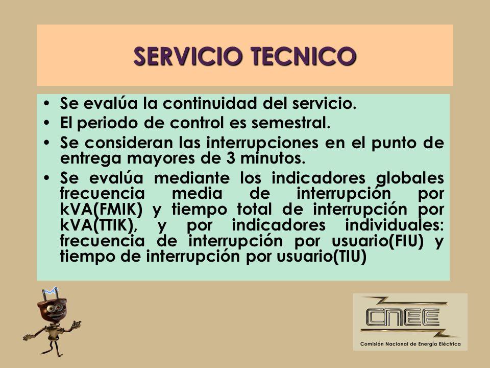 SERVICIO TECNICO Se evalúa la continuidad del servicio. El periodo de control es semestral. Se consideran las interrupciones en el punto de entrega ma