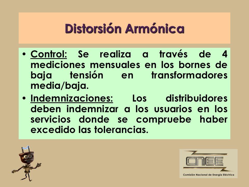 Distorsión Armónica Control: Se realiza a través de 4 mediciones mensuales en los bornes de baja tensión en transformadores media/baja. Indemnizacione