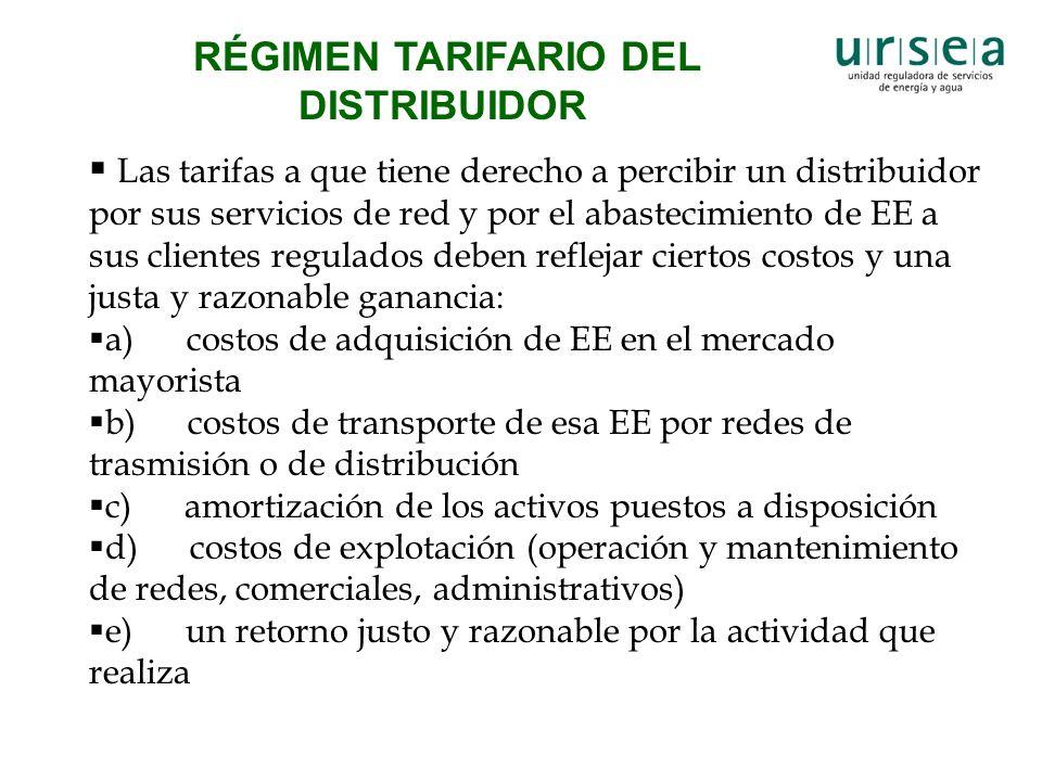 RÉGIMEN TARIFARIO DEL DISTRIBUIDOR Las tarifas a que tiene derecho a percibir un distribuidor por sus servicios de red y por el abastecimiento de EE a