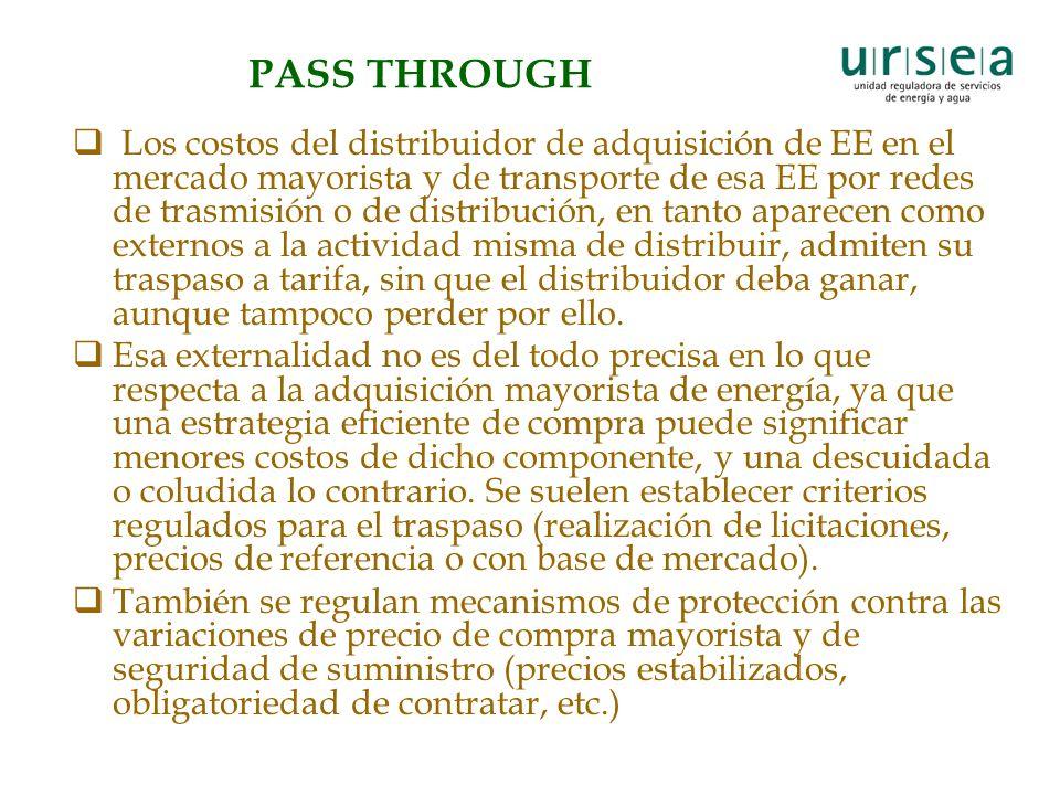 PASS THROUGH Los costos del distribuidor de adquisición de EE en el mercado mayorista y de transporte de esa EE por redes de trasmisión o de distribuc