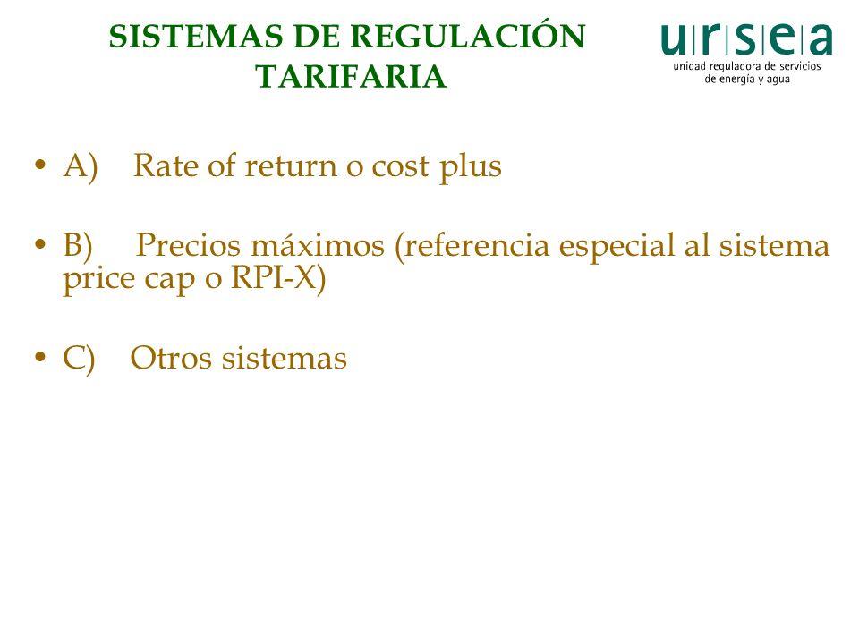 SISTEMAS DE REGULACIÓN TARIFARIA A) Rate of return o cost plus B) Precios máximos (referencia especial al sistema price cap o RPI-X) C) Otros sistemas