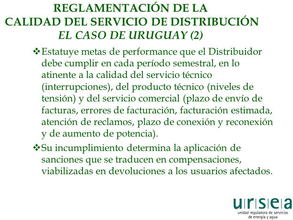 REGLAMENTACIÓN DE LA CALIDAD DEL SERVICIO DE DISTRIBUCIÓN EL CASO DE URUGUAY (2) Estatuye metas de performance que el Distribuidor debe cumplir en cad