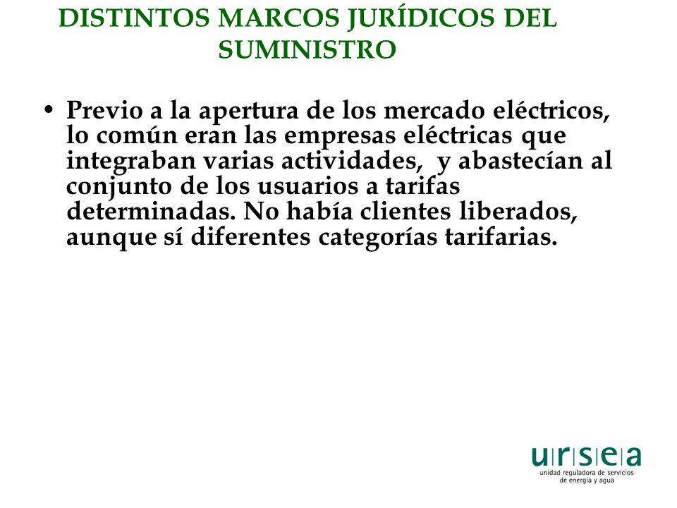DISTINTOS MARCOS JURÍDICOS DEL SUMINISTRO Previo a la apertura de los mercado eléctricos, lo común eran las empresas eléctricas que integraban varias actividades, y abastecían al conjunto de los usuarios a tarifas determinadas.
