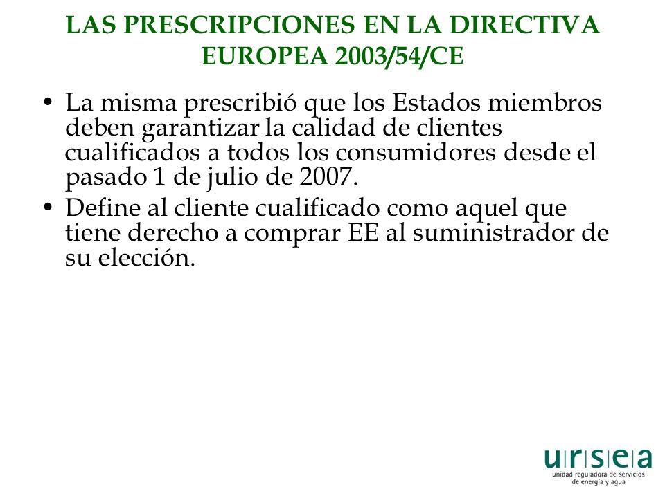 LAS PRESCRIPCIONES EN LA DIRECTIVA EUROPEA 2003/54/CE La misma prescribió que los Estados miembros deben garantizar la calidad de clientes cualificados a todos los consumidores desde el pasado 1 de julio de 2007.