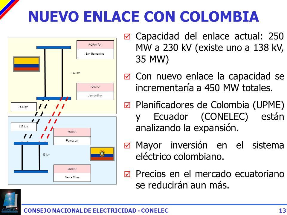 CONSEJO NACIONAL DE ELECTRICIDAD - CONELEC13 NUEVO ENLACE CON COLOMBIA Capacidad del enlace actual: 250 MW a 230 kV (existe uno a 138 kV, 35 MW) Con nuevo enlace la capacidad se incrementaría a 450 MW totales.