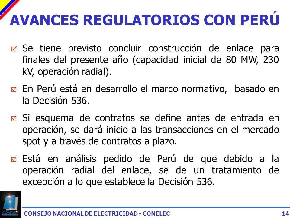 CONSEJO NACIONAL DE ELECTRICIDAD - CONELEC14 AVANCES REGULATORIOS CON PERÚ Se tiene previsto concluir construcción de enlace para finales del presente año (capacidad inicial de 80 MW, 230 kV, operación radial).