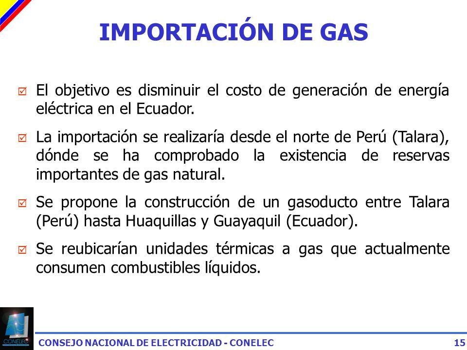 CONSEJO NACIONAL DE ELECTRICIDAD - CONELEC15 IMPORTACIÓN DE GAS El objetivo es disminuir el costo de generación de energía eléctrica en el Ecuador.