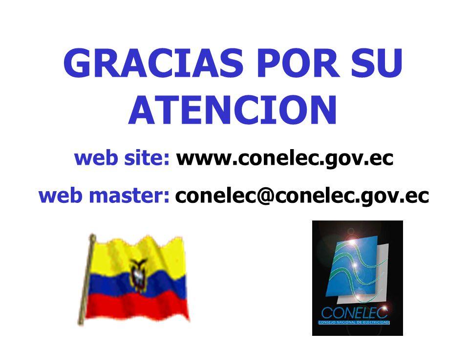 GRACIAS POR SU ATENCION web site: www.conelec.gov.ec web master: conelec@conelec.gov.ec