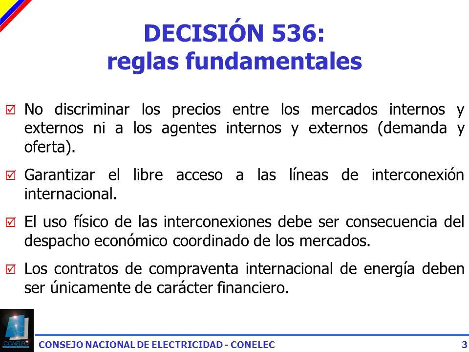 CONSEJO NACIONAL DE ELECTRICIDAD - CONELEC3 DECISIÓN 536: reglas fundamentales No discriminar los precios entre los mercados internos y externos ni a los agentes internos y externos (demanda y oferta).