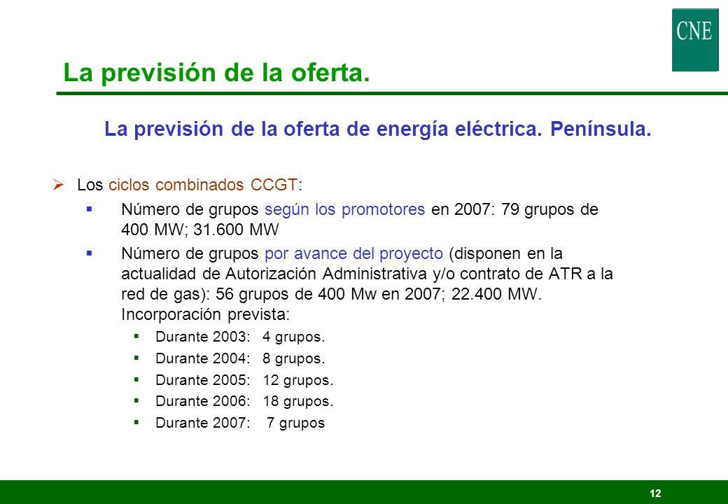 12 Los ciclos combinados CCGT: Número de grupos según los promotores en 2007: 79 grupos de 400 MW; 31.600 MW Número de grupos por avance del proyecto