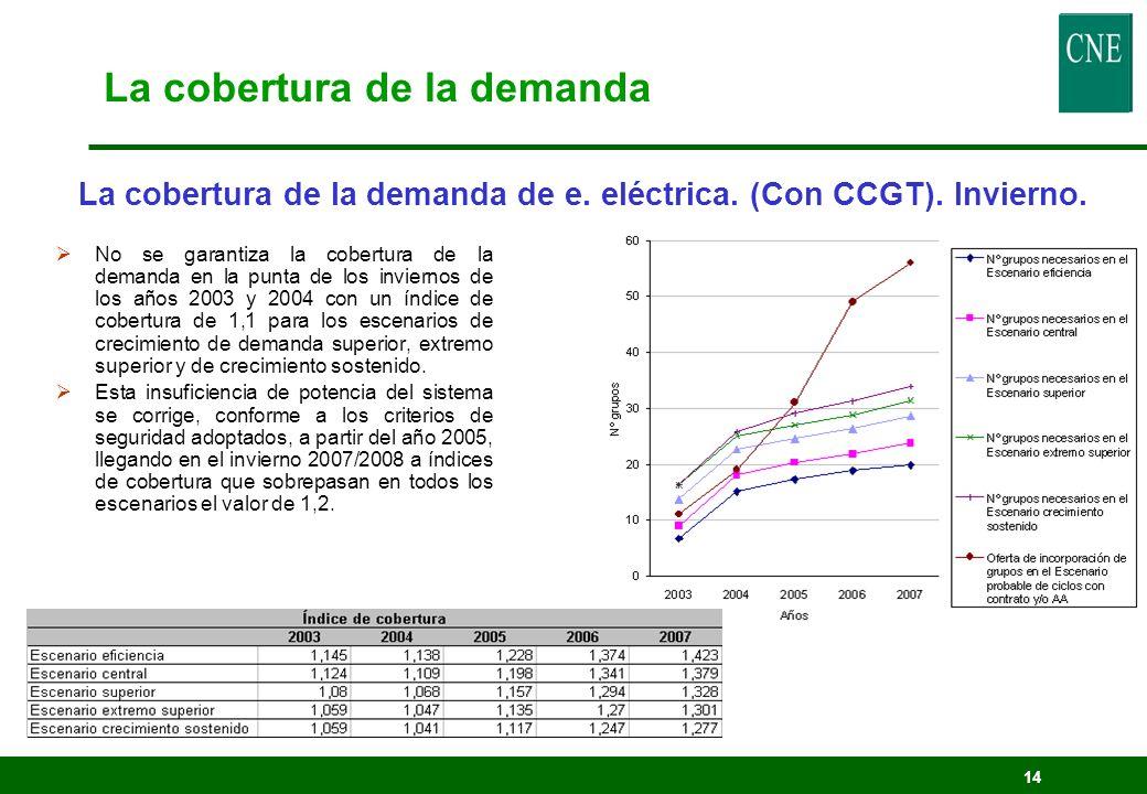 14 No se garantiza la cobertura de la demanda en la punta de los inviernos de los años 2003 y 2004 con un índice de cobertura de 1,1 para los escenari