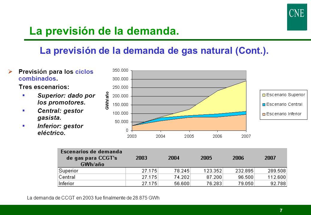 7 La previsión de la demanda de gas natural (Cont.). Previsión para los ciclos combinados. Tres escenarios: Superior: dado por los promotores. Central