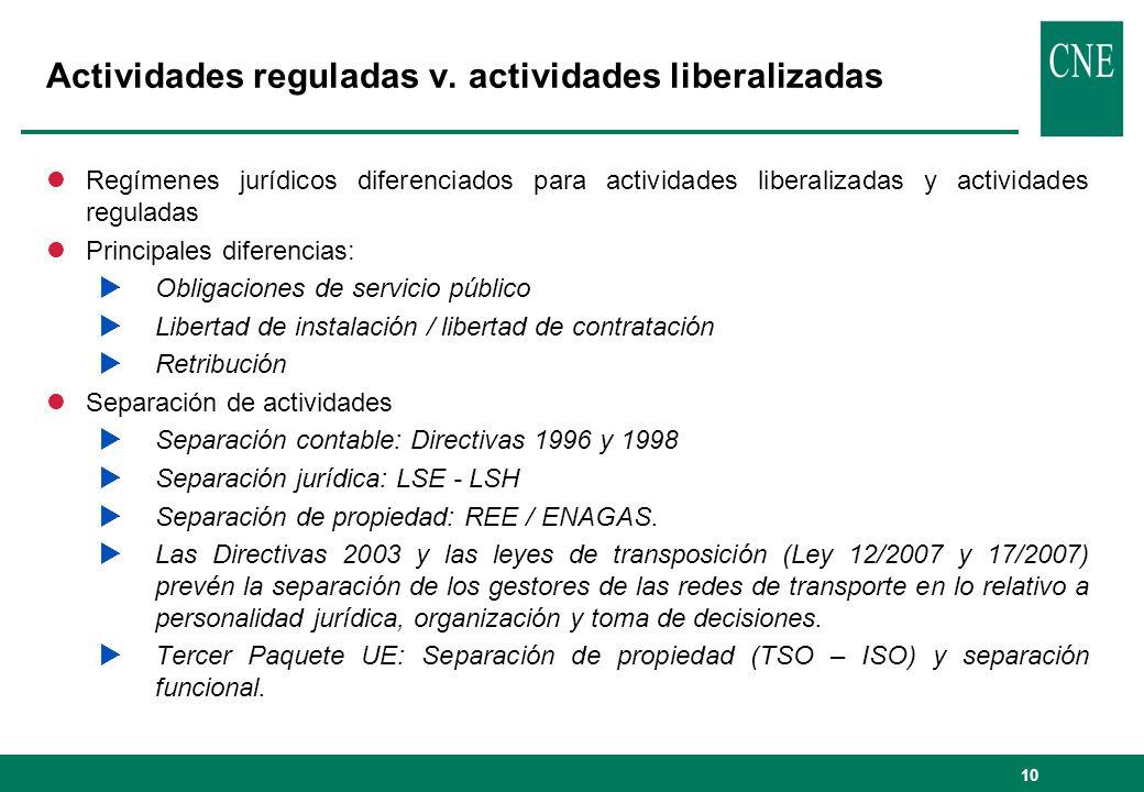 10 Actividades reguladas v. actividades liberalizadas lRegímenes jurídicos diferenciados para actividades liberalizadas y actividades reguladas lPrinc