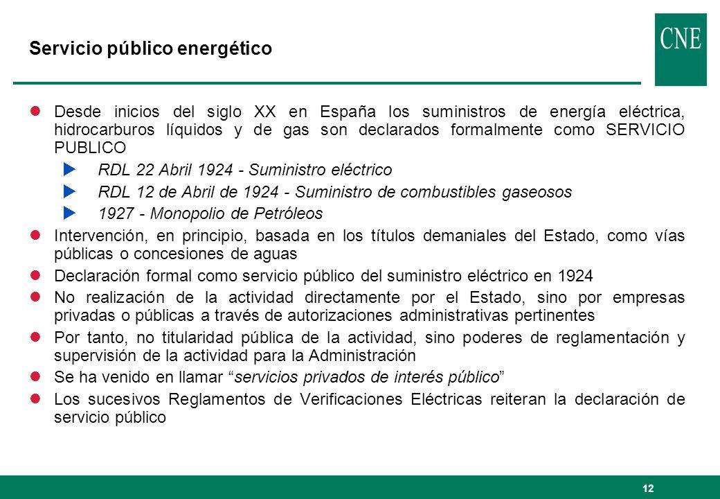 12 Servicio público energético lDesde inicios del siglo XX en España los suministros de energía eléctrica, hidrocarburos líquidos y de gas son declara