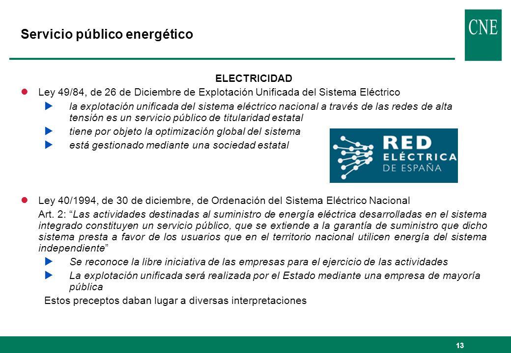 13 Servicio público energético ELECTRICIDAD lLey 49/84, de 26 de Diciembre de Explotación Unificada del Sistema Eléctrico la explotación unificada del