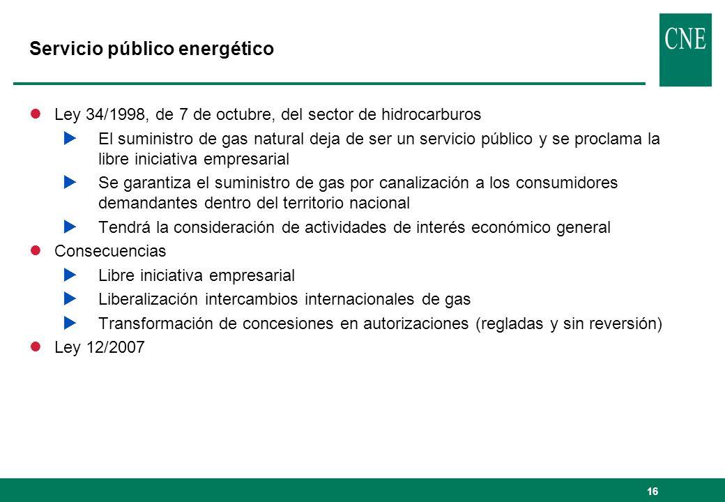 16 Servicio público energético lLey 34/1998, de 7 de octubre, del sector de hidrocarburos El suministro de gas natural deja de ser un servicio público