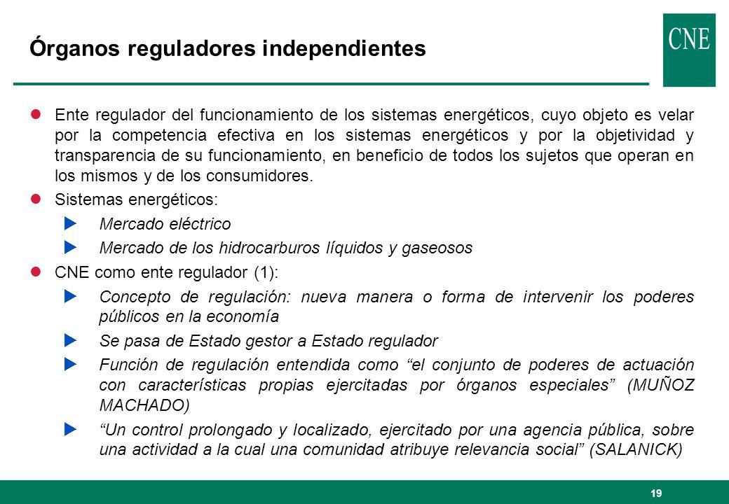 19 Órganos reguladores independientes lEnte regulador del funcionamiento de los sistemas energéticos, cuyo objeto es velar por la competencia efectiva