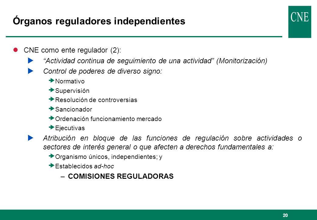 20 Órganos reguladores independientes lCNE como ente regulador (2): Actividad continua de seguimiento de una actividad (Monitorización) Control de pod
