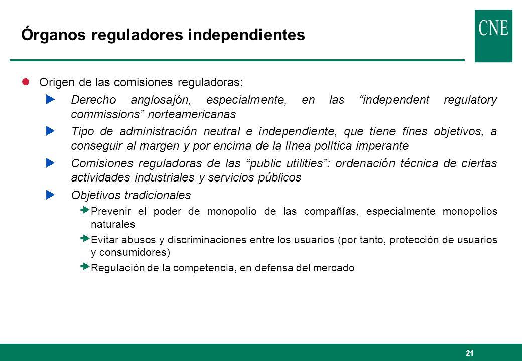 21 Órganos reguladores independientes lOrigen de las comisiones reguladoras: Derecho anglosajón, especialmente, en las independent regulatory commissi