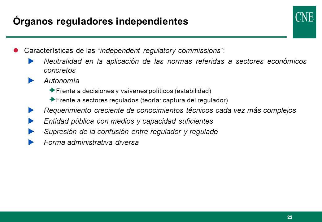 22 Órganos reguladores independientes lCaracterísticas de las independent regulatory commissions: Neutralidad en la aplicación de las normas referidas