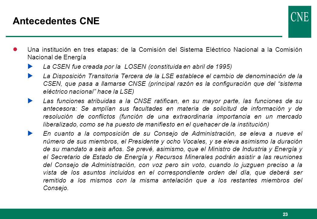 23 Antecedentes CNE lUna institución en tres etapas: de la Comisión del Sistema Eléctrico Nacional a la Comisión Nacional de Energía La CSEN fue cread