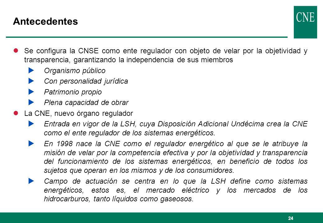 24 Antecedentes lSe configura la CNSE como ente regulador con objeto de velar por la objetividad y transparencia, garantizando la independencia de sus