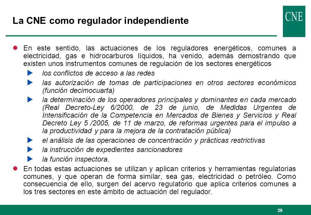 29 La CNE como regulador independiente lEn este sentido, las actuaciones de los reguladores energéticos, comunes a electricidad, gas e hidrocarburos l