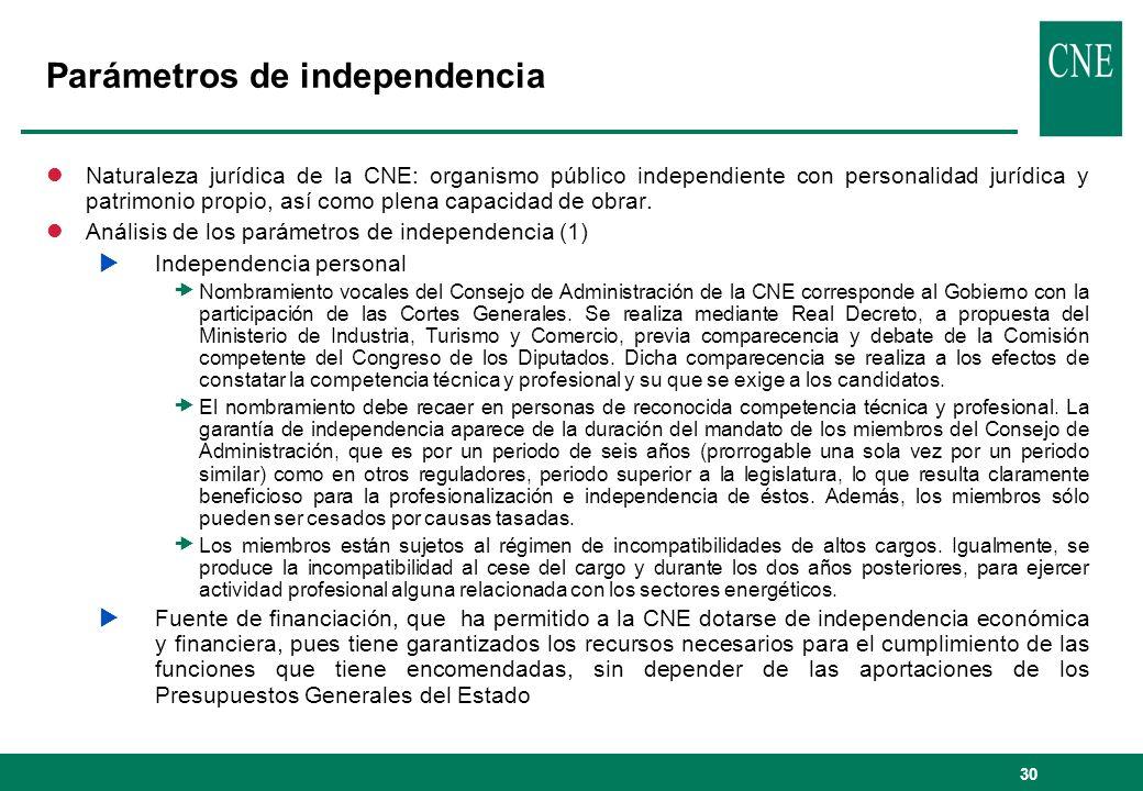 30 Parámetros de independencia lNaturaleza jurídica de la CNE: organismo público independiente con personalidad jurídica y patrimonio propio, así como