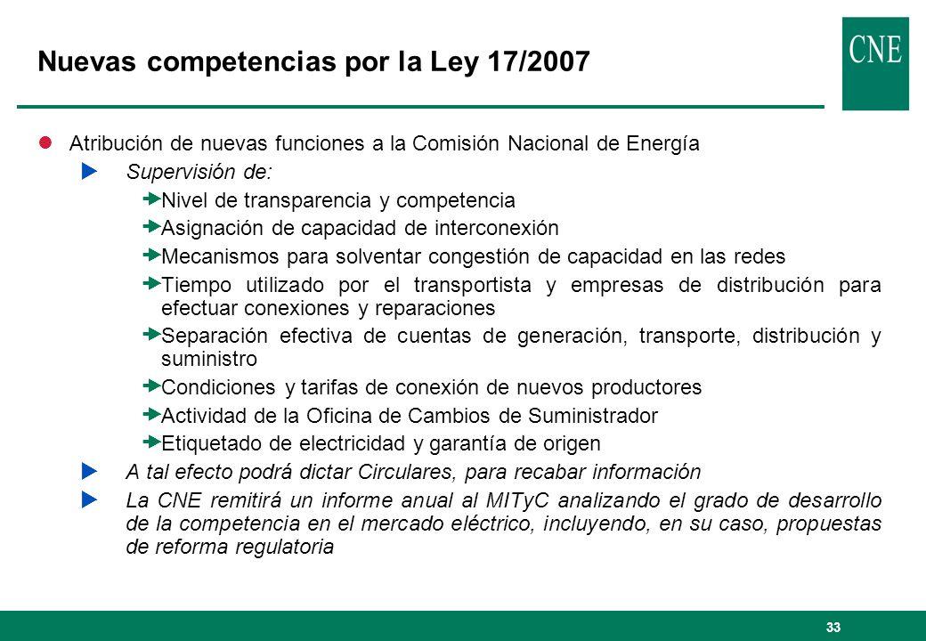 33 Nuevas competencias por la Ley 17/2007 lAtribución de nuevas funciones a la Comisión Nacional de Energía Supervisión de: Nivel de transparencia y c