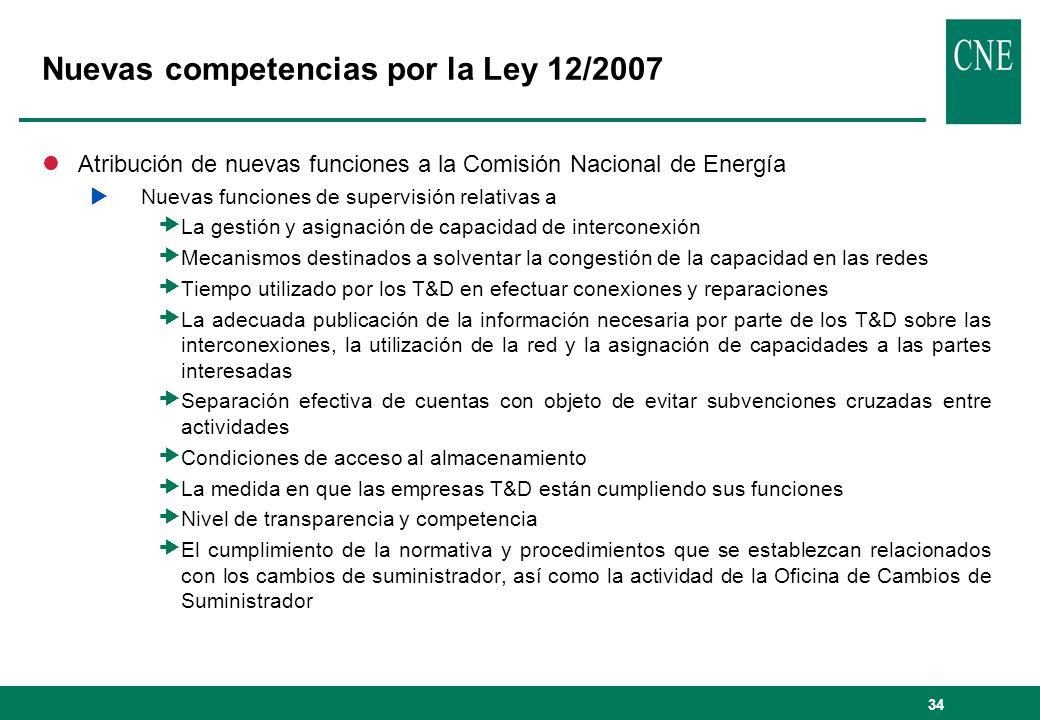 34 Nuevas competencias por la Ley 12/2007 lAtribución de nuevas funciones a la Comisión Nacional de Energía Nuevas funciones de supervisión relativas