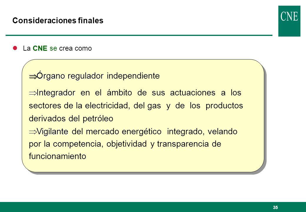 35 Consideraciones finales CNE lLa CNE se crea como Órgano regulador Órgano regulador independiente Integrador Integrador en el ámbito de sus actuacio