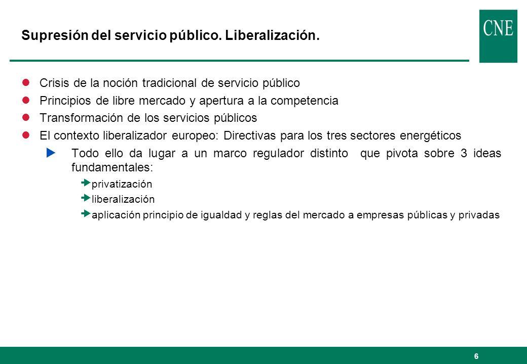 6 Supresión del servicio público. Liberalización. lCrisis de la noción tradicional de servicio público lPrincipios de libre mercado y apertura a la co