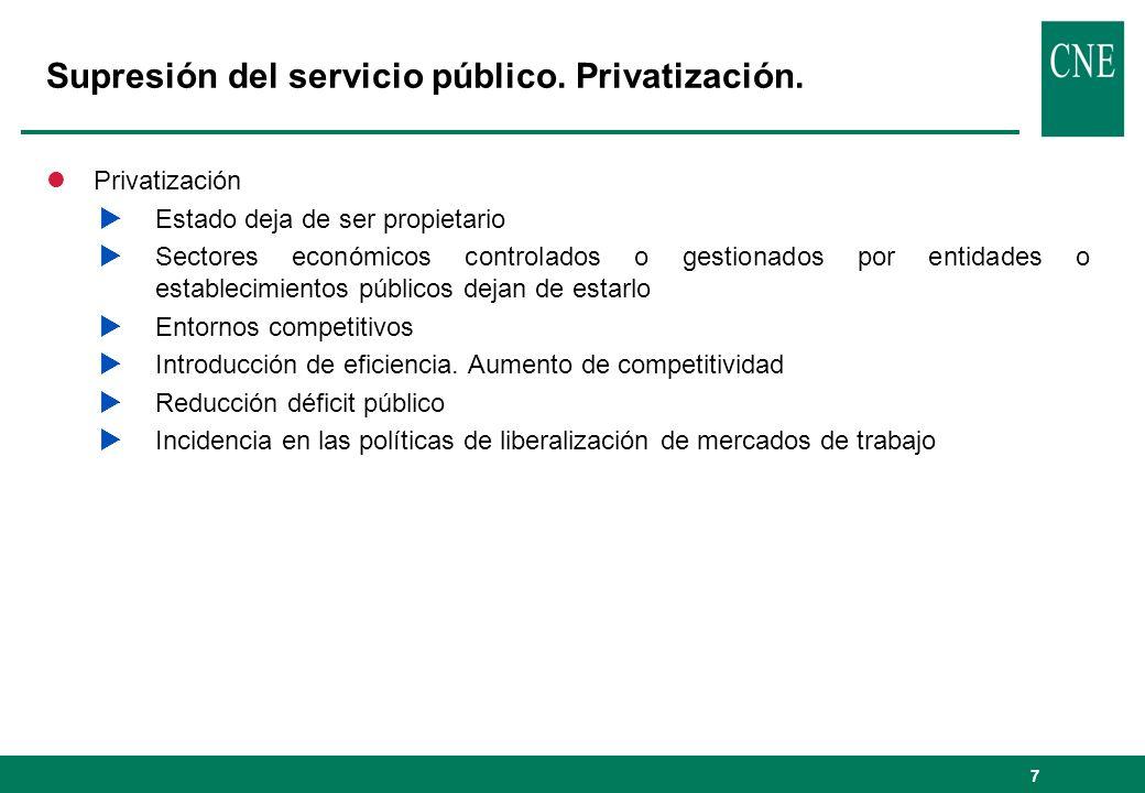 7 Supresión del servicio público. Privatización. l Privatización Estado deja de ser propietario Sectores económicos controlados o gestionados por enti