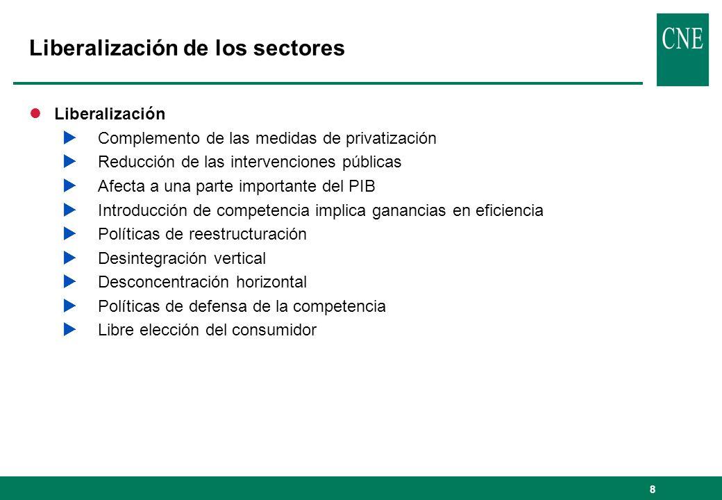 8 Liberalización de los sectores lLiberalización Complemento de las medidas de privatización Reducción de las intervenciones públicas Afecta a una par