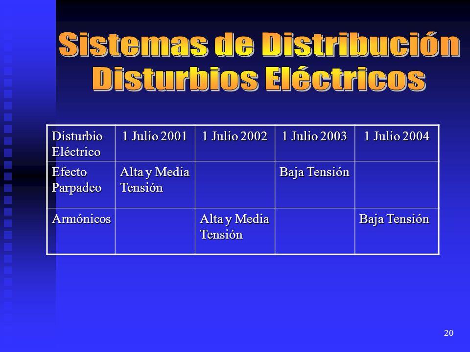 20 Disturbio Eléctrico 1 Julio 2001 1 Julio 2002 1 Julio 2003 1 Julio 2004 Efecto Parpadeo Alta y Media Tensión Baja Tensión Armónicos Alta y Media Te