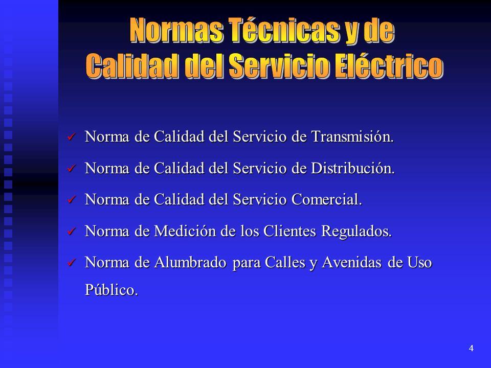 4 Norma de Calidad del Servicio de Transmisión. Norma de Calidad del Servicio de Transmisión. Norma de Calidad del Servicio de Distribución. Norma de