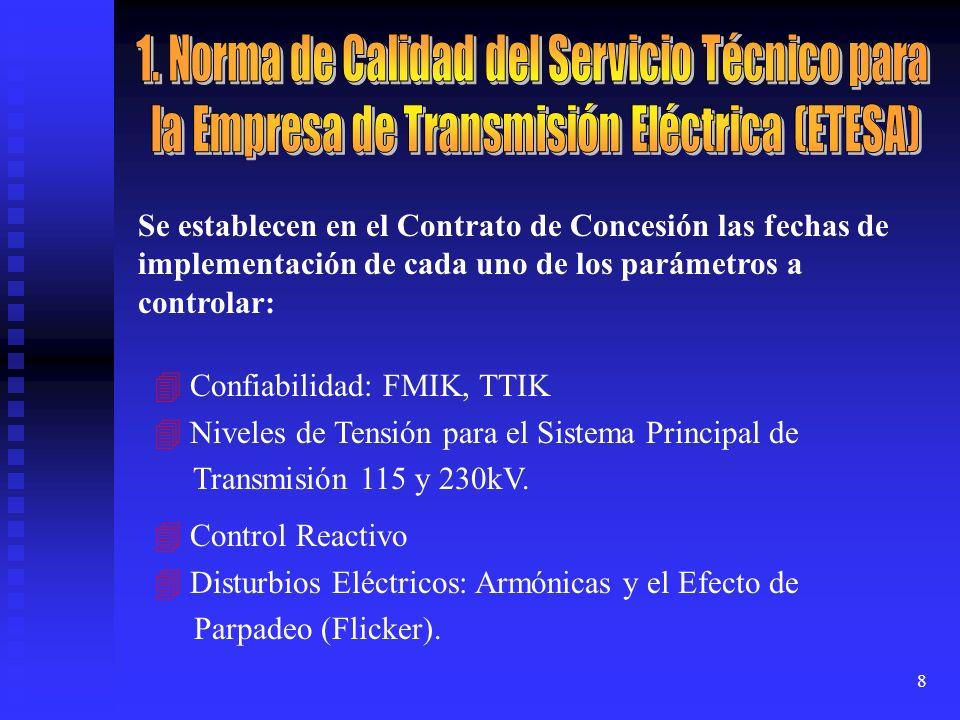 8 Se establecen en el Contrato de Concesión las fechas de implementación de cada uno de los parámetros a controlar: Confiabilidad: FMIK, TTIK Niveles