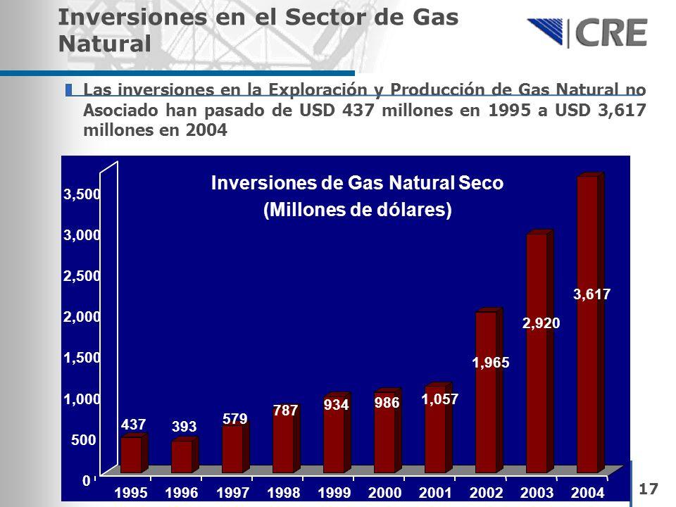 Las inversiones en la Exploración y Producción de Gas Natural no Asociado han pasado de USD 437 millones en 1995 a USD 3,617 millones en 2004 Inversio