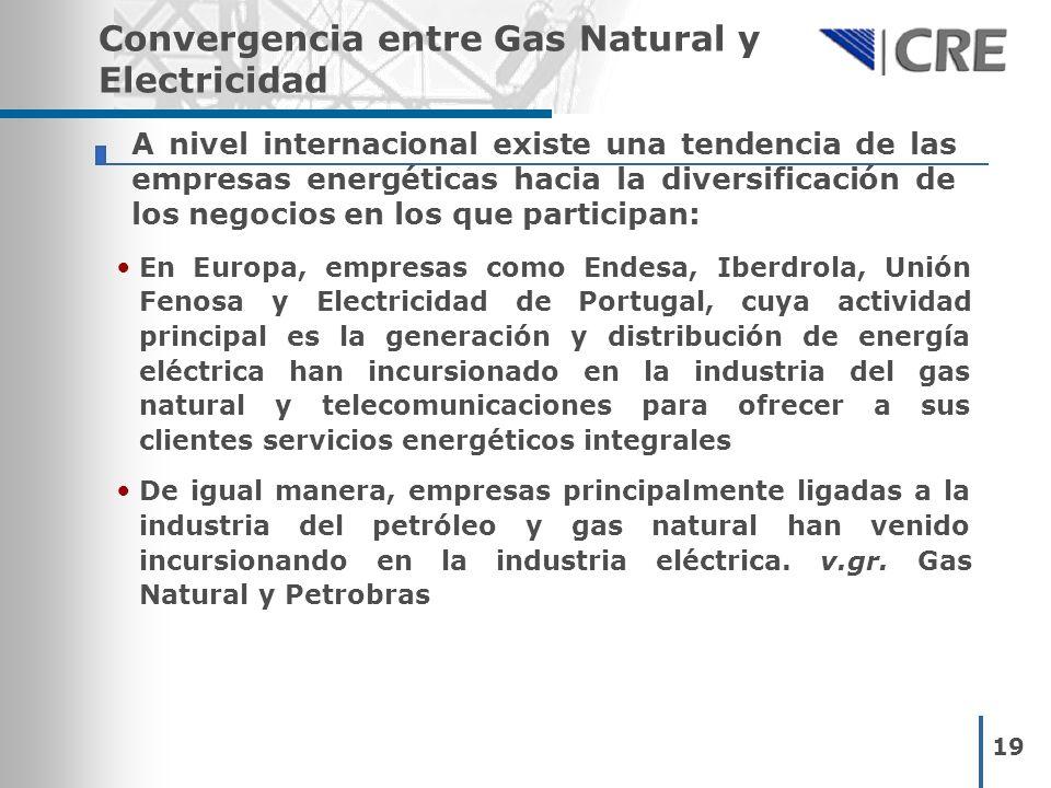 19 Convergencia entre Gas Natural y Electricidad En Europa, empresas como Endesa, Iberdrola, Unión Fenosa y Electricidad de Portugal, cuya actividad p