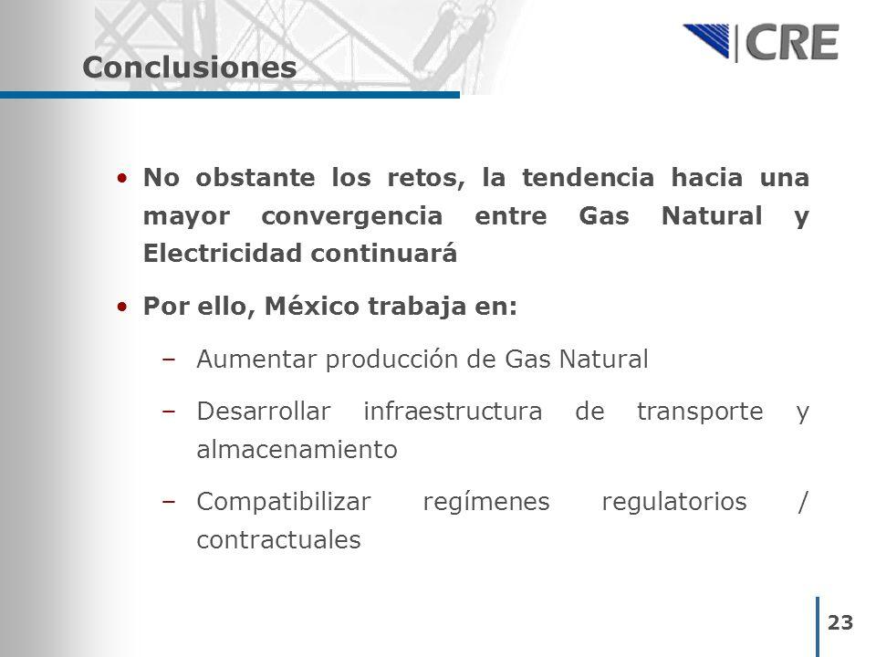 23 Conclusiones No obstante los retos, la tendencia hacia una mayor convergencia entre Gas Natural y Electricidad continuará Por ello, México trabaja