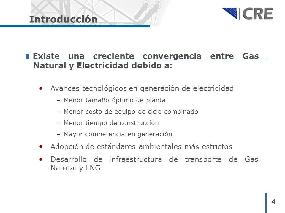 4 Introducción Existe una creciente convergencia entre Gas Natural y Electricidad debido a: Avances tecnológicos en generación de electricidad – Menor