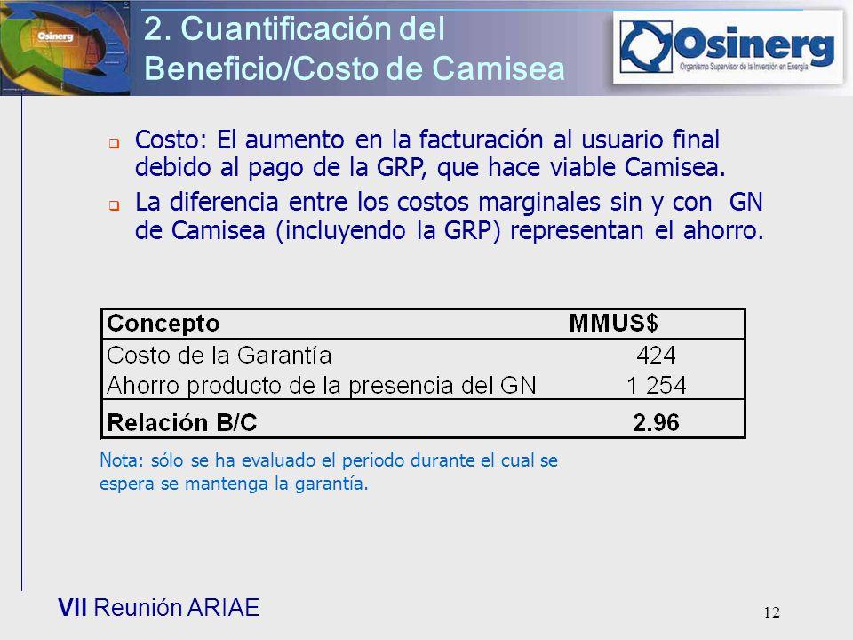 VII Reunión ARIAE 12 2. Cuantificación del Beneficio/Costo de Camisea Costo: El aumento en la facturación al usuario final debido al pago de la GRP, q